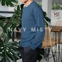 Kaos Polos Lengan Panjang Soft Cotton 30s Misty Twotone