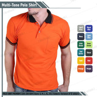 Kaos Polo Shirt Orange Lis Hitam Lengan Pendek