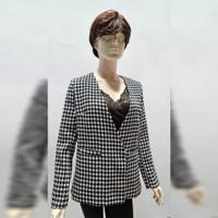 Woman Fashion Mozaic Blazer Outer - Baju Jas Luaran Wanita