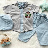 Baju setelan kemeja celana topi dasi pergi jalan anak bayi cowok laki