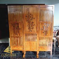 sketsel pembatas ruangan jati minimalis, penyekat ruang motif bambu
