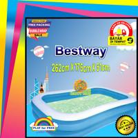 Kolam Renang Berenang Anak Jumbo Bestway Kotak Besar Biru 262 Kado