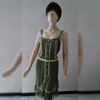 Limited Woman Fashion Green Lace Dress - Baju Santai Terusan Wanita