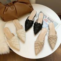 Sandal sepatu flat shoes wanita SS0558 Woven Leather Mules Sandals