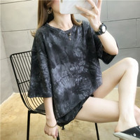 Kaos Sweater Tangan Panjang Lucu Oversized Jumbo Abstrak Tye Dye - Abu-abu