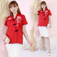 Baju Imlek Atasan Blouse Kerah Shanghai Bordir Bunga & Kupu-Kupu - M