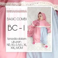BAJU BUSANA GAMIS MUSLIM ANAK PEREMPUAN SYARI BASIC COMBI BC1-8 - BC 1, XXS