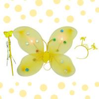 Terlaris mainan anak sayap kupu kupu peri 3set tongkat dan bando (LED)