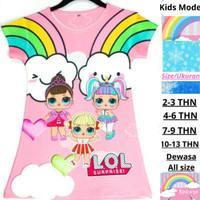 Baju Anak lol Pink Dress Anak Perempuan Karakter LoL Doll Rainbow Cute