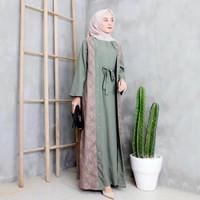 Baju Gamis Syari Muslim Wanita Terbaru Elina Dress Brukat Termurah