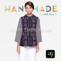 Baju Atasan Wanita Top Tenun Batik Blanket Kombinasi Lurik