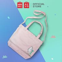 MINISO Tas Selempang Wanita Totebag Jingjing Canvas Sling Bag Stylish - Merah Muda