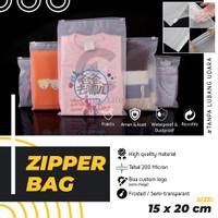 15x20CM Zipper Storage Bag Matte Frosted Kantong Plastik Travel Polos