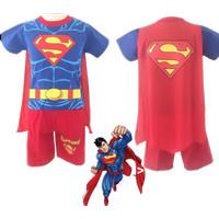 Setelan Anak Laki-Laki Superman Sayap Baju Celana Pendek Superhero