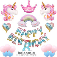 Balonasia Unicorn princess rainbow set