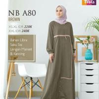 Gamis Nibras NB A80 Warna Coklat Brown Baju Muslimah Casual Simpel Ori