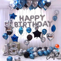 [PAKET] BIRTHDAY Set BLUE SILVER STAR CHROME Dekorasi Backdrop Ultah - HAPPY BIRTHDAY