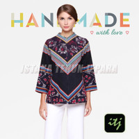 Blouse Batik Wanita Top Gaya Songket Motif Bunga