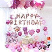 [PAKET] BIRTHDAY Set ROSE PINK CHROME GLASS Dekorasi Backdrop Ultah - HAPPY BIRTHDAY