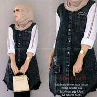 Tunik Jeans Wanita Model Terbaru / Baju Muslim /Fashion Wanita / Karin - XL