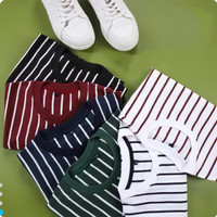 T-Shirt Pria Vertical Medium Stripe Belang (M-XL) Murah Berkualitas