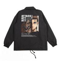Jaket Coach Anime Attack On Titan Eren Jaeger Black Limited Sz M L XL