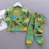 Setelan Anak bayi motif brown dino celana&lengan panjang adem