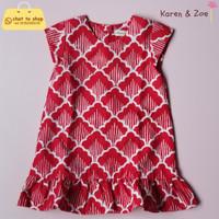 Batik Anak - Bryony Dress - Garutan Sisik - Red & White