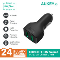 Charger Mobil Aukey CC-S3 2 Ports 24W AiQ - 500223