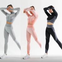Setelan Baju Olahraga Training Wanita Gym Yoga Running AB31 Premium