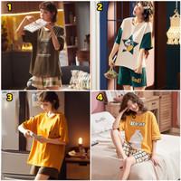 Baju Tidur Piyama Pendek Murah / Setelan Piyama Impor HP / Wanita