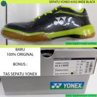 SEPATU BADMINTON YONEX SHB 65 X 2 W WIDE BLACK / ACID YELLOW ORIGINAL