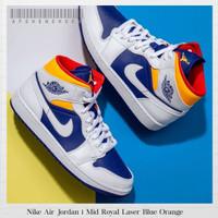 Sepatu Original Nike Air Jordan 1 Mid Royal Laser Blue Orange BNIB