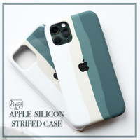 Apple Silicon Striped Midnight Green Case all iPhone 6 7 8 X XR 11 12