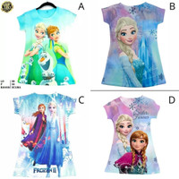 Dress scuba anak import motif Frozen Elsa Anna baju Frozen Elsa
