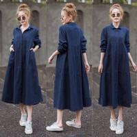 Baju Atasan Dress Kemeja Long Tunik Jeans Denim Wanita Muslim Oversize
