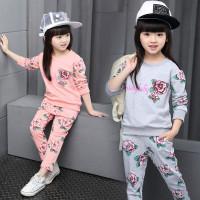 Setelan baju panjang anak perempuan 1 2 3 4 5 6 7 tahun pink abu murah