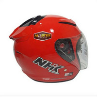 HELM NHK R1 SOLID RED DOUBLE VISOR HALF FACE NHK R1 RED