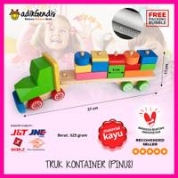 Balok Kontainer Mainan Edukasi Edukatif Anak Puzzle Mobil Susun Kayu