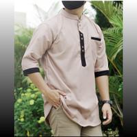 Baju Atasan Pria Koko Kurta Qurta lengan 3/4 Milenial mocca khaki - Mocca Khaki, M