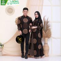 Gamis Couple Dress Batik Wanita Modern Panjang Baju Pasangan Kondangan