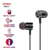 VIVAN Q11 Headset Earphone Android / iPhone Bass New Diaphragm Braided - Q11S Black