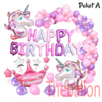 Paket Dekorasi Ulang Tahun Simpel Unicorn Purple Lilac
