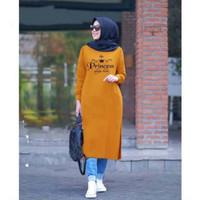 TK04 Tunik Kaos Long Dress Wanita Baju Muslim Lengan Panjang Tebaru