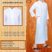 Jubah Gamis Pria Dewasa Warna Putih Pakaian Jubah Ramadhan Laki-laki