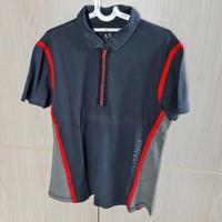 Baju Polo Shirt Pria Armani Exchange Abu2 Merah Sporty Size L