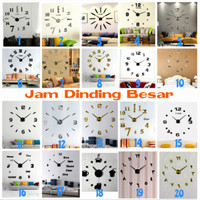 DIY 3D Giant Wall Clock / Jam Dinding Besar Silver