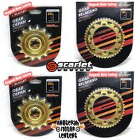Gir Paket Gear Depan Belakang Scarlet Gold Kawasaki KLX 150