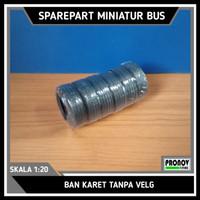 Ban karet miniatur bus kopongan 5,8cm