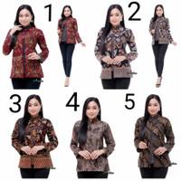 Blouse Batik Wanita Lengan Panjang Modern Terbaru / Baju Kerja Batik 7